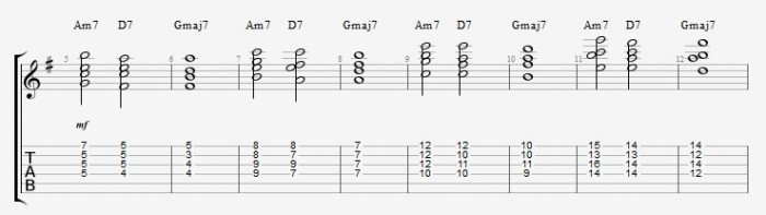 Drop 2 voicings part 2 - ex 1