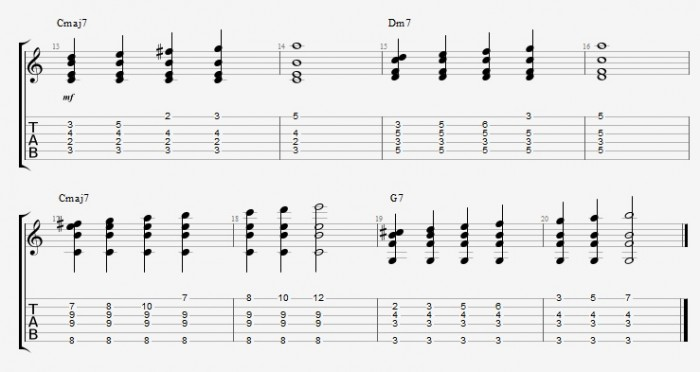 Jazz Chord Essentials - Shell voicings graphics  - ex 4