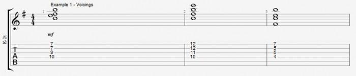 Maj7b5 Arpeggio and chord Ex 1