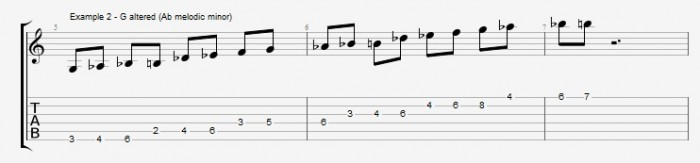 Melodic Minor - Altered Scale - ex 2