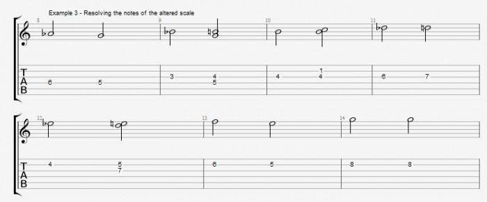 Melodic Minor - Altered Scale - ex 3