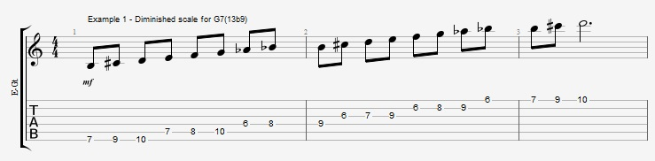 Diminished Scale on Dom7th Chords ex 1