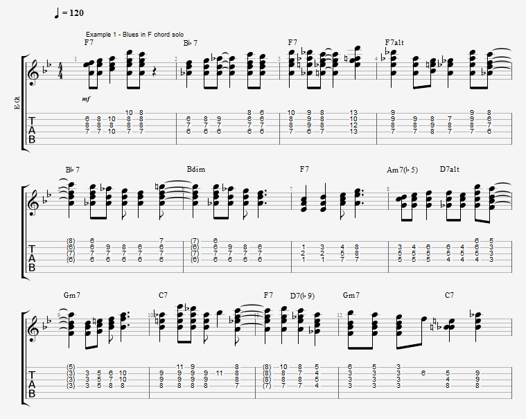 Jazz Blues Chord Solo - ex 1