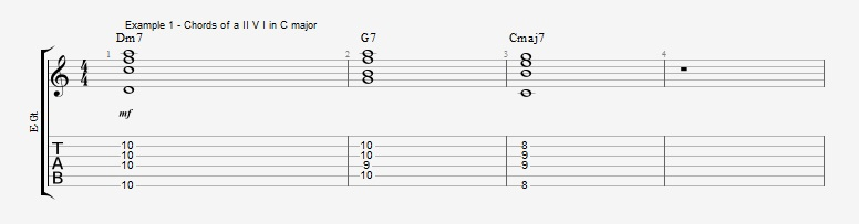 How to start soloing over a II V I with arpeggios - ex 1