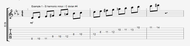 4th mode Harmonic Minor - ex 1