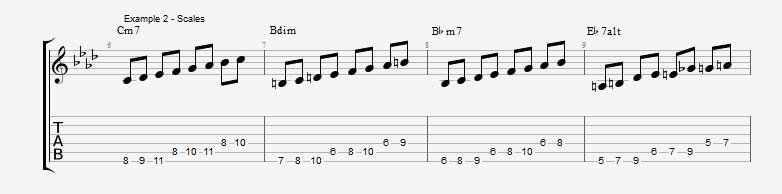 How to make lines on a III bIIIdim II V progression ex 2