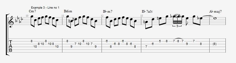 How to make lines on a III bIIIdim II V progression ex 3