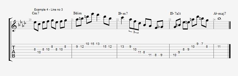 How to make lines on a III bIIIdim II V progression ex 5