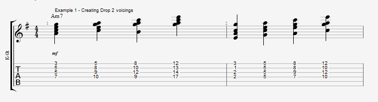 Jazz Chord Essentials - Drop 2 voicings part 1 - ex 1