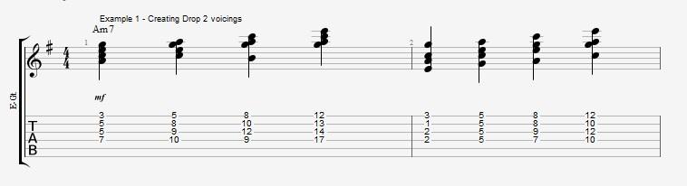 Jazz Chord Essentials - Drop 2 voicings part 1 - ex 1