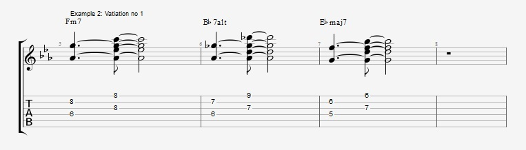 5 ways to play the same II V I chord voicings ex 2