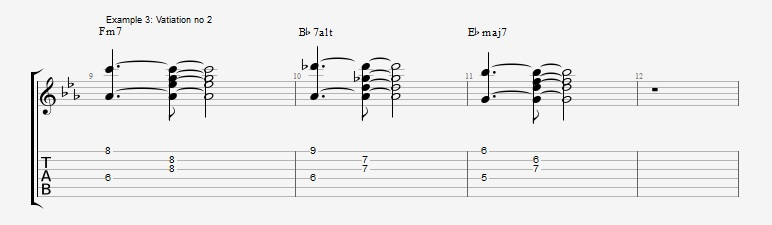 5 ways to play the same II V I chord voicings ex 3