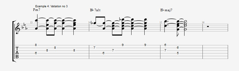 5 ways to play the same II V I chord voicings ex 4