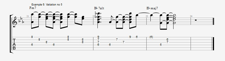 5 ways to play the same II V I chord voicings ex 6
