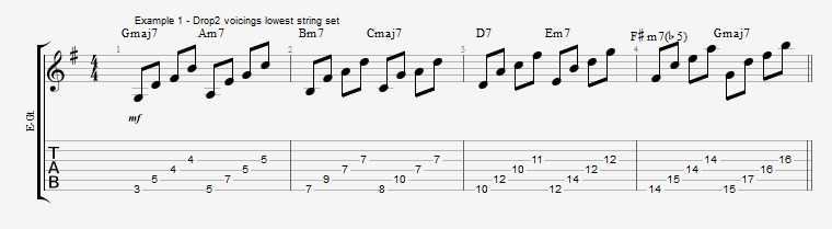 Drop2 voicings as Arpeggios - Ex 1