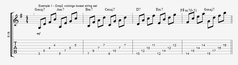 Drop2 voicings as Arpeggios - Ex 1