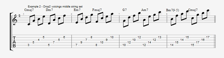 Drop2 voicings as Arpeggios - Ex 2