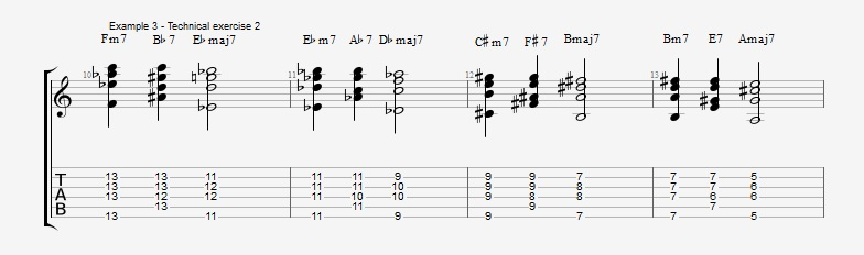 First II V I voicings ex 3