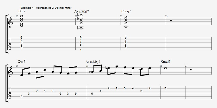 Melodic Minor - Altered Scale in three approaches - ex 4