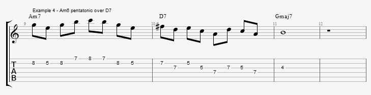 Minor 6th Pentatonic Scales ex 4