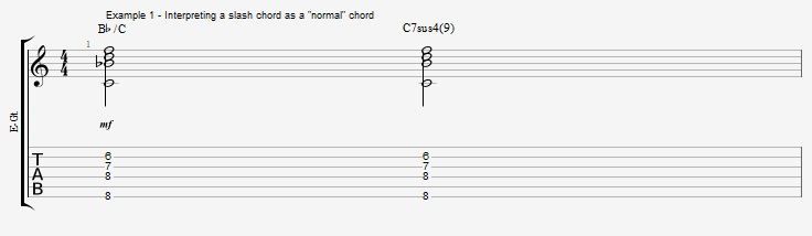 Slash Chords - All triads over bass notes - ex 1