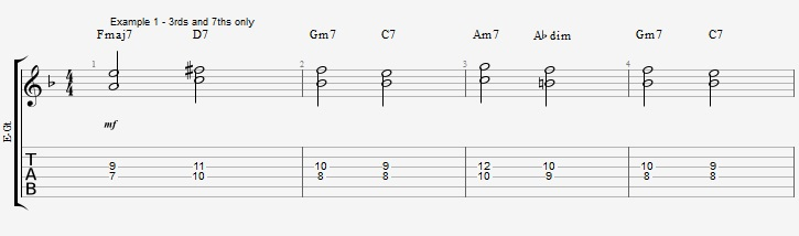 Building chords from 3rd and 7th ex 1