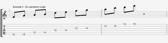 Soloing over a II V I with Pentatonic scales ex 4