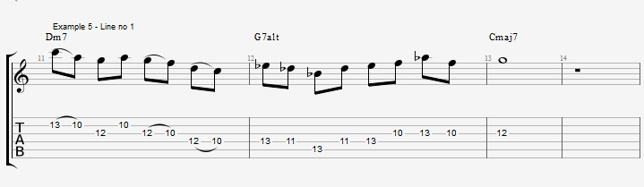 Soloing over a II V I with Pentatonic scales ex 5