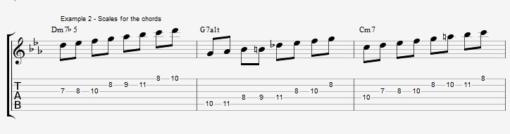 How to improvise over a minor II V I with arpeggios ex 2