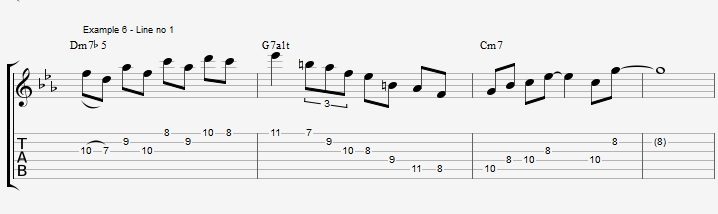 How to improvise over a minor II V I with arpeggios ex 6