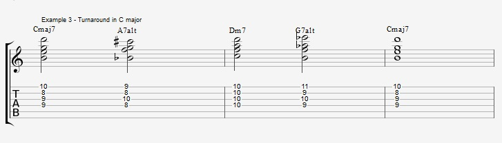 Play a standard with 2 types of Drop2 chords - ex 3