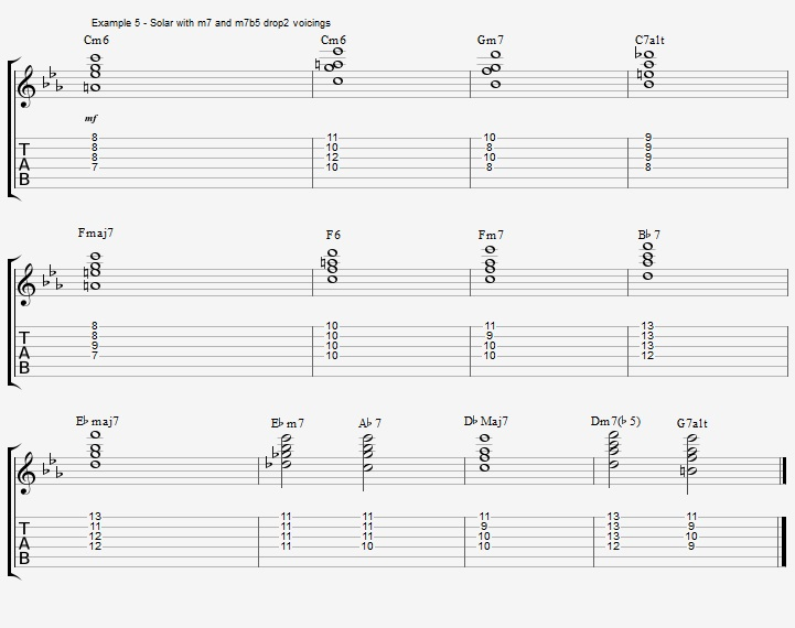 Play a standard with 2 types of Drop2 chords - ex 5