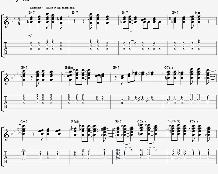 Bb Jazz Blues Chord Solo - Ex 1