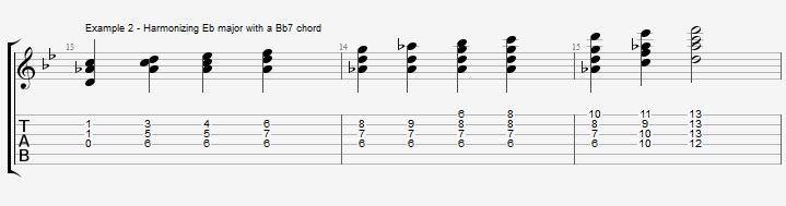 Bb Jazz Blues Chord Solo - Ex 2