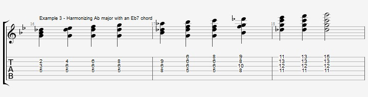 Bb Jazz Blues Chord Solo - Ex 3