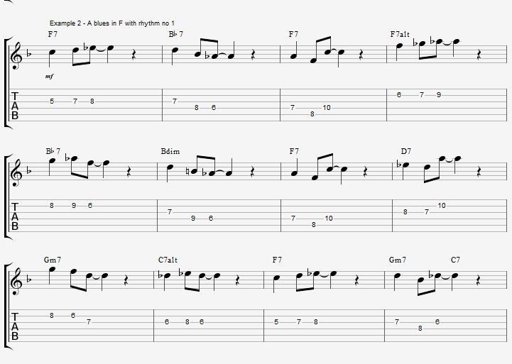 Rhythm exercise on a Jazz Blues ex 2