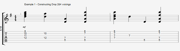 Drop2&4 voicings - Part 1 - ex 1