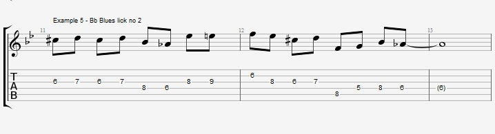 5 Bb Jazz Blues licks - ex 5