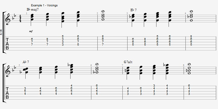 Making Jazz Chords sound Bluesy ex 1