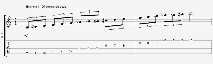 Triads of the Diminished scale - part 1 - ex 1
