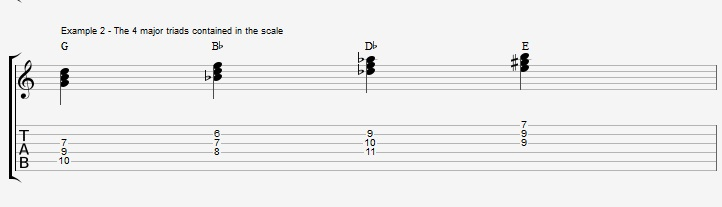 Triads of the Diminished scale - part 1 - ex 2