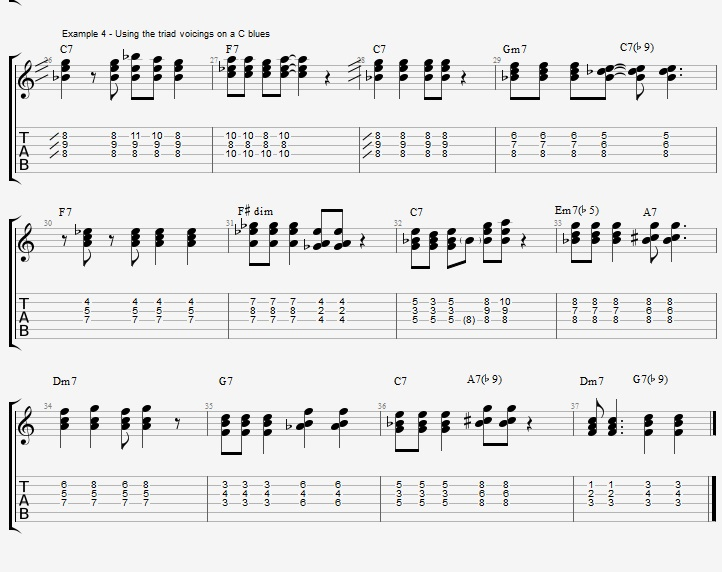 C Jazz Blues with triad voicings - ex 4