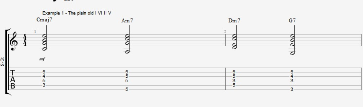Jazz Chords 10 variations of a I VI II V turnaround - ex 1