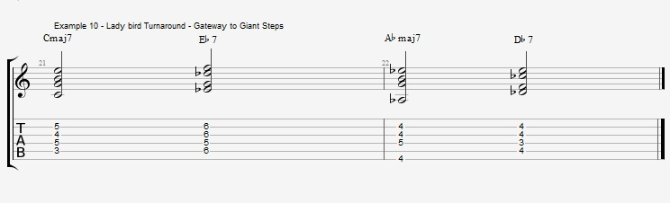 Jazz Chords 10 variations of a I VI II V turnaround - ex 10