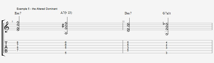 Jazz Chords 10 variations of a I VI II V turnaround - ex 5