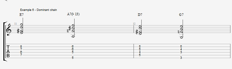 Jazz Chords 10 variations of a I VI II V turnaround - ex 6