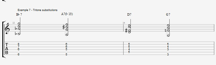 Jazz Chords 10 variations of a I VI II V turnaround - ex 7