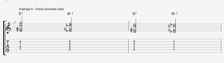 Jazz Chords 10 variations of a I VI II V turnaround - ex 9