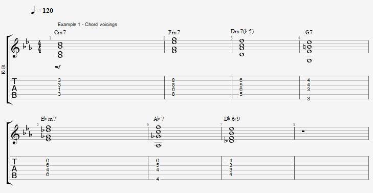 Bossa Nova Guitar patterns 1 - Blue Bossa - Jens Larsen