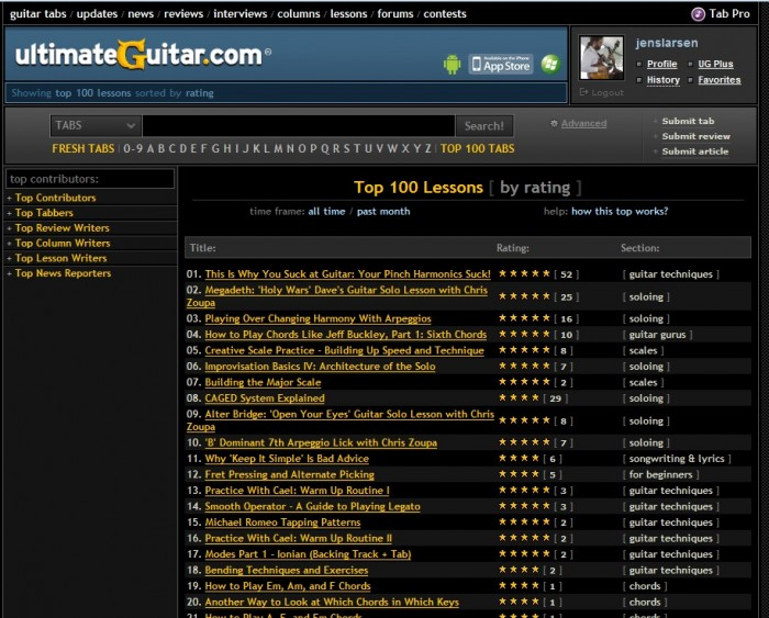 Top 100 Lessons Ultimate Guitar 29-03-2014